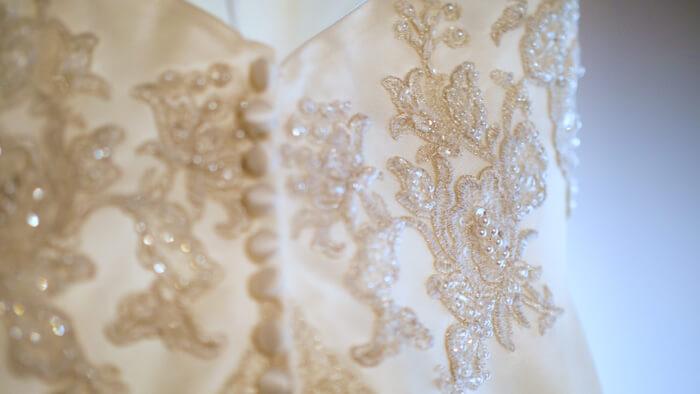 Wedding dress beading details